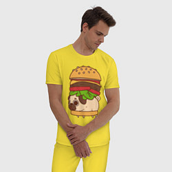 Пижама хлопковая мужская Мопс-бургер цвета желтый — фото 2