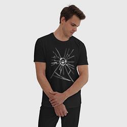 Пижама хлопковая мужская Mirror Smile цвета черный — фото 2