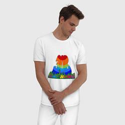 Пижама хлопковая мужская Зов джунглей цвета белый — фото 2