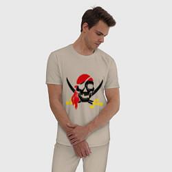 Пижама хлопковая мужская Пиратская футболка цвета миндальный — фото 2