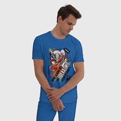 Пижама хлопковая мужская Юрий Гагарин: поехали цвета синий — фото 2