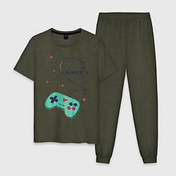 Пижама хлопковая мужская Perfect Team: Player 2 цвета меланж-хаки — фото 1