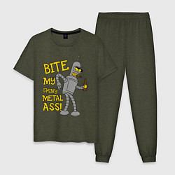 Пижама хлопковая мужская Bite my shunny metal ass цвета меланж-хаки — фото 1