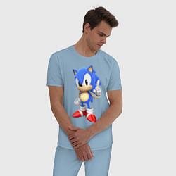 Пижама хлопковая мужская Classic Sonic цвета мягкое небо — фото 2