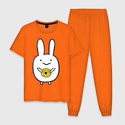 Пижама хлопковая мужская Зайчик с пончиком цвета оранжевый — фото 1