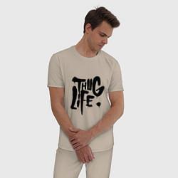 Пижама хлопковая мужская Thug Life цвета миндальный — фото 2