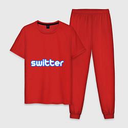 Пижама хлопковая мужская Switter цвета красный — фото 1
