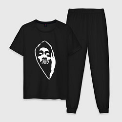 Пижама хлопковая мужская Тупак Шакур цвета черный — фото 1