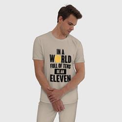 Пижама хлопковая мужская Be A Eleven цвета миндальный — фото 2