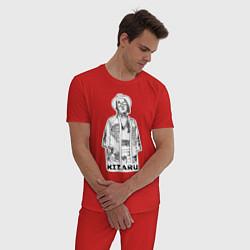 Пижама хлопковая мужская Kizaru цвета красный — фото 2