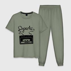 Пижама хлопковая мужская Depeche Mode: Tape цвета авокадо — фото 1