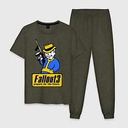 Пижама хлопковая мужская Fallout 3 Man цвета меланж-хаки — фото 1