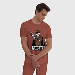 Пижама хлопковая мужская Fallout Man with gun цвета кирпичный — фото 2