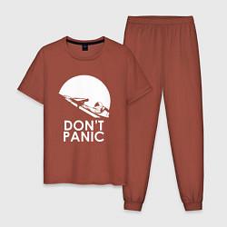 Пижама хлопковая мужская Elon: Don't Panic цвета кирпичный — фото 1