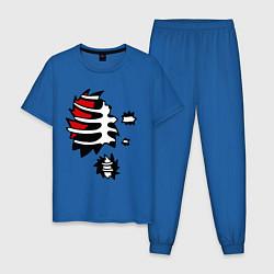 Пижама хлопковая мужская Зомби-скелет цвета синий — фото 1