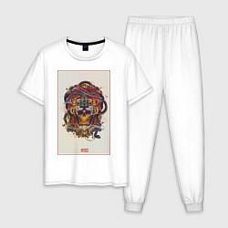 Пижама хлопковая мужская Mexico ART цвета белый — фото 1