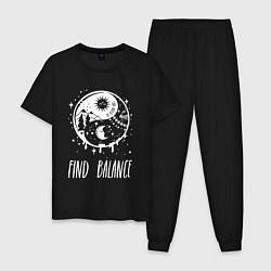 Пижама хлопковая мужская Find Balance цвета черный — фото 1