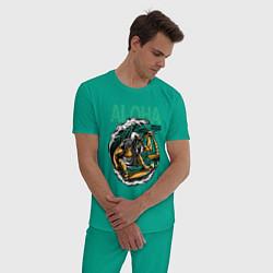 Пижама хлопковая мужская Wild Aloha цвета зеленый — фото 2