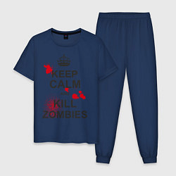 Пижама хлопковая мужская Keep Calm & Kill Zombies цвета тёмно-синий — фото 1