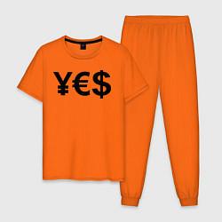 Пижама хлопковая мужская YE$ цвета оранжевый — фото 1