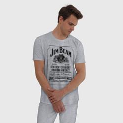 Пижама хлопковая мужская Jim Beam whiskey цвета меланж — фото 2
