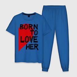 Пижама хлопковая мужская Born to love her цвета синий — фото 1