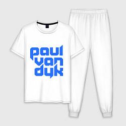 Пижама хлопковая мужская Paul van Dyk: Filled цвета белый — фото 1