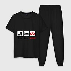 Пижама хлопковая мужская Еда, сон и Infiniti цвета черный — фото 1