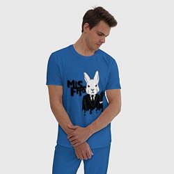 Пижама хлопковая мужская Misfits Rabbit цвета синий — фото 2