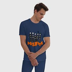 Пижама хлопковая мужская Misfits Skeletons цвета тёмно-синий — фото 2