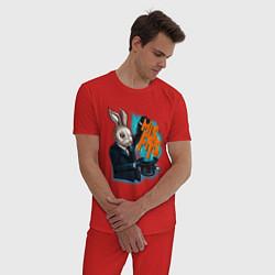 Пижама хлопковая мужская Rabbit magician цвета красный — фото 2