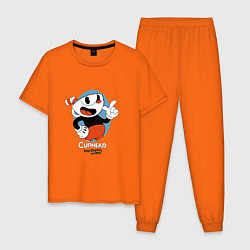 Пижама хлопковая мужская Cuphead Mugman цвета оранжевый — фото 1