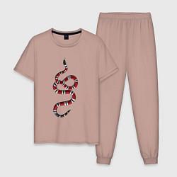 Пижама хлопковая мужская Snake GG цвета пыльно-розовый — фото 1