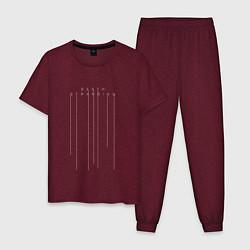 Пижама хлопковая мужская Death Stranding цвета меланж-бордовый — фото 1