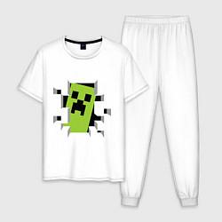 Пижама хлопковая мужская Crash Minecraft цвета белый — фото 1