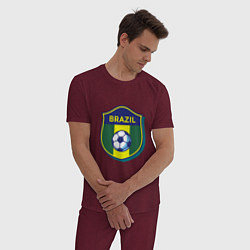 Пижама хлопковая мужская Brazil Football цвета меланж-бордовый — фото 2