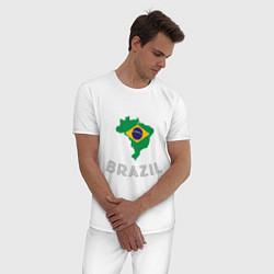 Пижама хлопковая мужская Brazil Country цвета белый — фото 2