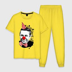 Пижама хлопковая мужская Евгений Петросян клоун цвета желтый — фото 1