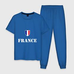 Пижама хлопковая мужская France цвета синий — фото 1