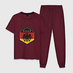 Пижама хлопковая мужская Немецкий фанат цвета меланж-бордовый — фото 1