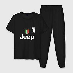 Пижама хлопковая мужская Ronaldo: Juve Sport цвета черный — фото 1