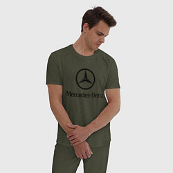 Пижама хлопковая мужская Logo Mercedes-Benz цвета меланж-хаки — фото 2