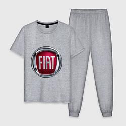 Пижама хлопковая мужская FIAT logo цвета меланж — фото 1