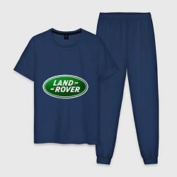 Пижама хлопковая мужская Logo Land Rover цвета тёмно-синий — фото 1
