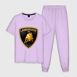 Пижама хлопковая мужская Lamborghini logo цвета лаванда — фото 1