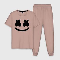 Пижама хлопковая мужская Marshmello цвета пыльно-розовый — фото 1