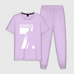 Пижама хлопковая мужская Juventus: Ronaldo 7 цвета лаванда — фото 1
