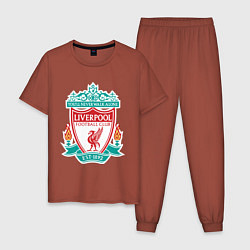 Пижама хлопковая мужская Liverpool FC цвета кирпичный — фото 1
