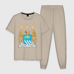 Пижама хлопковая мужская Manchester City FC цвета миндальный — фото 1