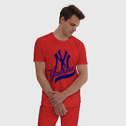 Пижама хлопковая мужская NY - Yankees цвета красный — фото 2